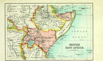 Drawings Royalty Free Images - Map of British East Africa i1 Royalty-Free Image by Historic illustrations