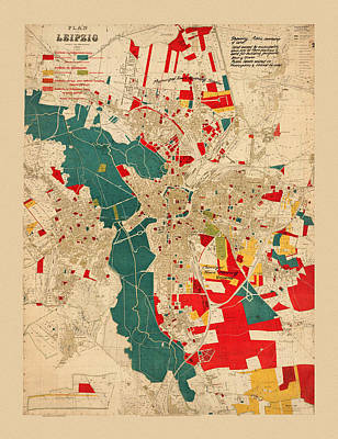 Wild Weather - Map Of Leipzig 1912 by Andrew Fare