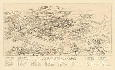 Comic Character Paintings - Map Of Oxford 1850 by Andrew Fare
