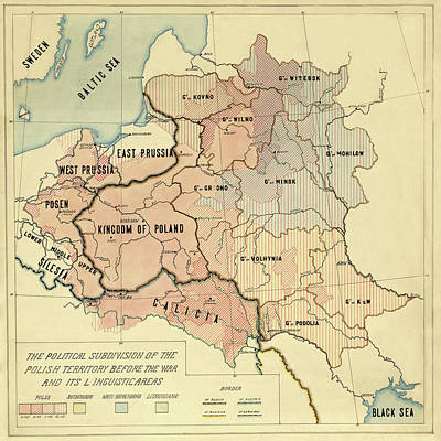 Santas Reindeers Royalty Free Images - Map Of Poland 1918 Royalty-Free Image by Andrew Fare