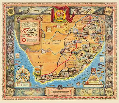 Valentines Day - Map Of South Africa 1950 by Andrew Fare