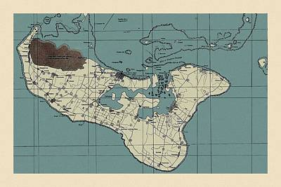 Olympic Sports - Map Of Tonga 1943 by Andrew Fare