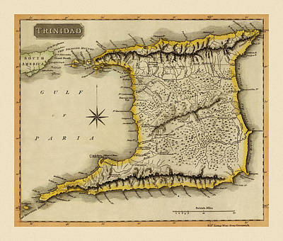 Everett Collection - Map Of Trinidad 1816 by Andrew Fare