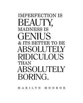 Digital Art - Marilyn Monroe Quote - Imperfection is Beauty 1 - Inspiring, Motivational - Minimalist, Typography by Studio Grafiikka