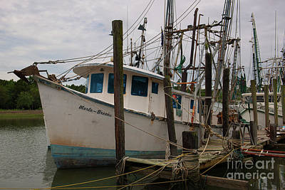 Vintage Buick - Marla Brooke Shrimp Boat - Dockside - McCllellanville South Carolina by Dale Powell