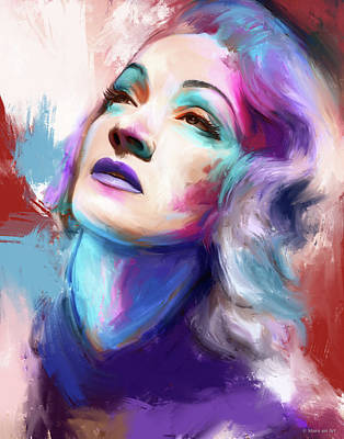 Royalty-Free and Rights-Managed Images - Marlene Dietrich painting by Stars on Art