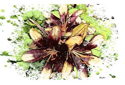 Vintage Performace Cars - Maroon Asiatic Lily by Eloise Schneider Mote