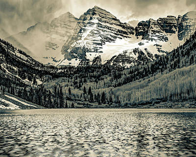 Art History Meets Fashion - Maroon Bells Mountain Peaks in Sepia by Gregory Ballos