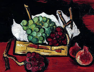Owls - Marsden Hartley 1878 1943 GREEN AND PURPLE GRAPES IN BASKET by Artistic Rifki