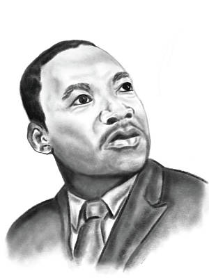 Drawing - Martin Luther King Jr. Portrait, All Profit Proceeds Going To The King Center by Dara Thomson