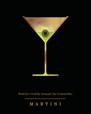 Digital Art - Martini Cocktail - Classic Cocktail Print - Black and Gold - Modern, Minimal Lounge Art  by Studio Grafiikka