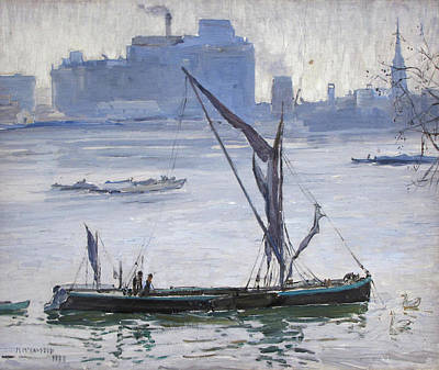 Fruits And Vegetables Still Life - MARY MCCROSSAN British 1864 1934 Thames barges 1928 by Artistic Rifki