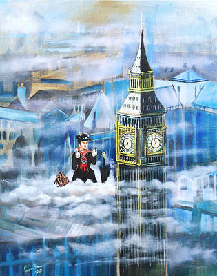 Painting - Mary Poppins in the clouds by Gordon Bruce
