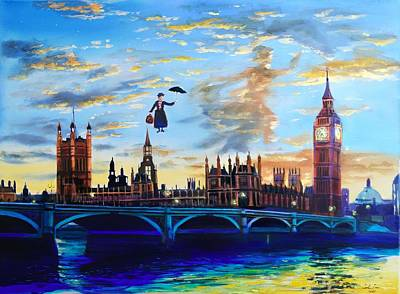 Painting - Mary Poppins returns to London by Gordon Bruce