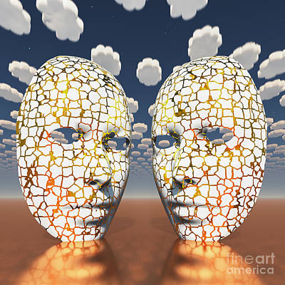 Surrealism Royalty Free Images - Masks in surreal sky Royalty-Free Image by Bruce Rolff