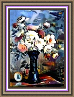 Still Life Royalty-Free and Rights-Managed Images - Matissecalia - Still Life With Flower Bouquet In A Blue Vase L A S With Printed Frame. by Gert J Rheeders
