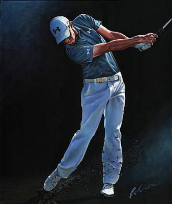 Sports Paintings - Matt Fitzpatrick by Mark Robinson