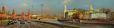 Painting Royalty Free Images - May heat. Kremlin embankment Royalty-Free Image by Alexey Shalaev