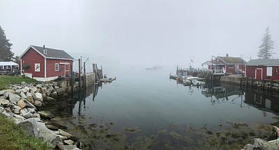 Fall Animals - McLoons Lobster Shack Foggy Morning by Joann Vitali