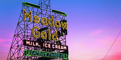Royalty-Free and Rights-Managed Images - Meadow Gold Neon Panorama Along Tulsas Route 66 by Gregory Ballos