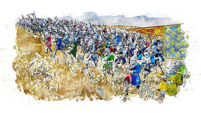 Food And Flowers Still Life - Medieval Army in Battle - 98 by AM FineArtPrints