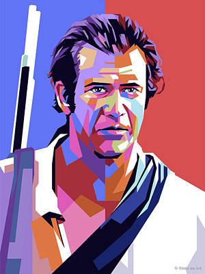Modern Sophistication Line Drawings Royalty Free Images - Mel Gibson Royalty-Free Image by Stars on Art