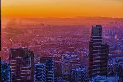 Bath Time Rights Managed Images - Melbourne Sunset Royalty-Free Image by Jijo George