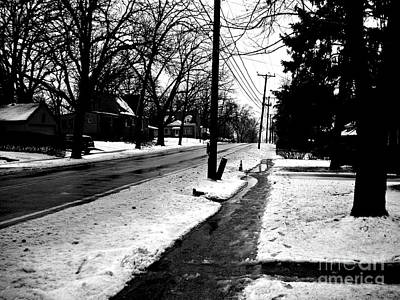 Frank J Casella Royalty-Free and Rights-Managed Images - Melting Snow Down the Street - Black and White by Frank J Casella