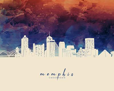 Typography Tees - Memphis Skyline Panorama 3 by Bekim M