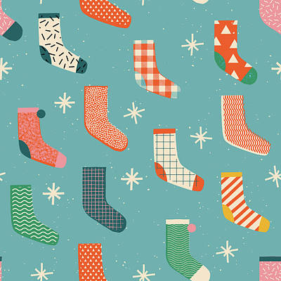 Royalty-Free and Rights-Managed Images - Merry Christmas socks pattern in illustration. by Julien