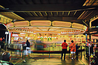 Surrealism Royalty-Free and Rights-Managed Images - Merry Go Round at Night by Surreal Jersey Shore
