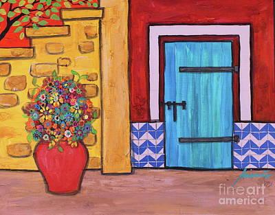 Music Figurative Potraits - Mexican Blue Door by Pristine Cartera Turkus