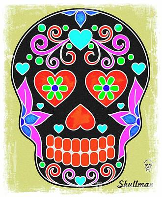 Fruits And Vegetables Still Life - Mexican Skulls 8 by John Shepherd