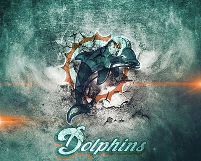 Sports Royalty-Free and Rights-Managed Images - Miami Dolphins Logo 2 by Michael Stout