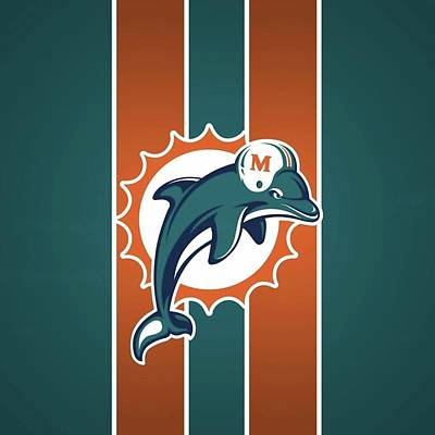 Sports Royalty-Free and Rights-Managed Images - Miami Dolphins Logo   by Michael Stout