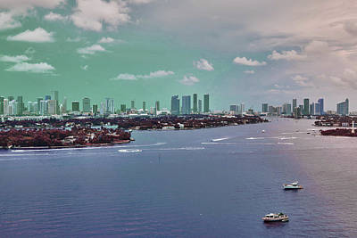 Surrealism Royalty-Free and Rights-Managed Images - Miami skyline, United States 2 - Surreal Art by Ahmet Asar by Celestial Images