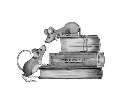 Drawings Royalty Free Images - Mice Playing on Books Royalty-Free Image by Joyce Geleynse