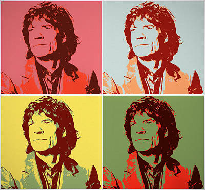 Mixed Media Royalty Free Images - Mick Jagger Pop Panels Royalty-Free Image by Dan Sproul