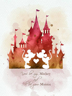 Animals Digital Art - Mickey and Minnie in Cinderella castle by Mihaela Pater