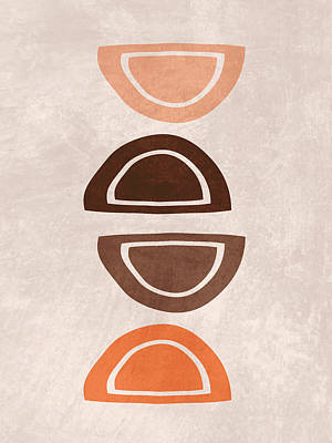 Royalty-Free and Rights-Managed Images - Mid Century Modern Print 11 - Minimal Geometric Shapes - Stylish, Abstract, Contemporary - Brown by Studio Grafiikka