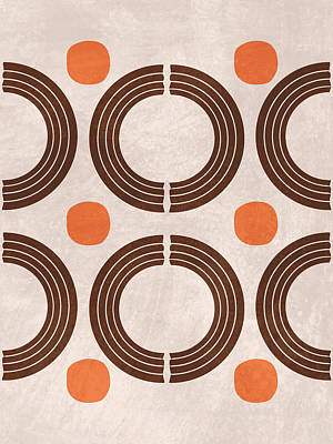 Royalty-Free and Rights-Managed Images - Mid Century Modern Print 18 - Minimal Geometric Shapes - Stylish, Abstract, Contemporary - Brown by Studio Grafiikka