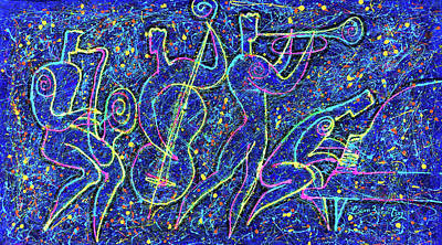 Frank Sinatra Rights Managed Images - Midnight Jazz and Jackson Pollock style Royalty-Free Image by Leon Zernitsky