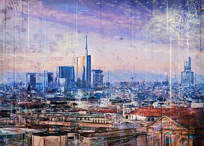 Digital Art - Milan panorama by Andrea Gatti