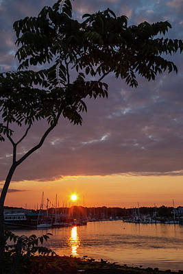 Go For Gold - Milford Harbor at Sunset by Karol Livote