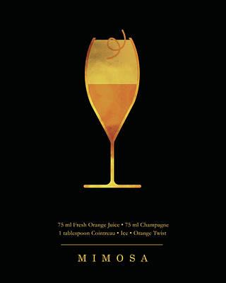 Digital Art - Mimosa Cocktail - Classic Cocktail Print - Black and Gold - Modern, Minimal Lounge Art  by Studio Grafiikka