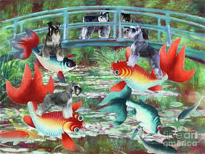 Bicycle Patents - Miniature Schnauzer Claude Monet Goldfish The Japanese Footbridge by Sandra Sij