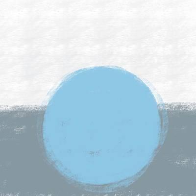 Mixed Media Royalty Free Images - Minimal Abstract Painting - Contemporary - Modern Art 2 - Sky Blue, Grey  Royalty-Free Image by Studio Grafiikka