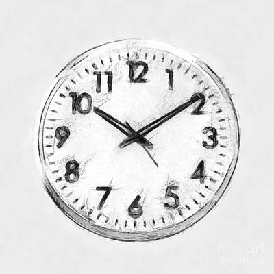Still Life Drawings - Minimal Clock Black and White Art by Nishanth Gopinathan