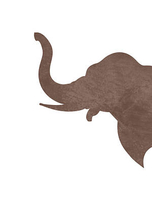 Animals Mixed Media - Minimal Elephant Silhouette - Scandinavian Nursery Decor - Animal Friends - For Kids Room - Brown by Studio Grafiikka