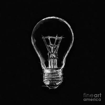 Still Life Drawings - Minimal Light Bulb Drawing Black Background by Nishanth Gopinathan